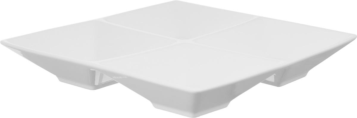 Менажница Wilmax, 4 секцииWL-992018 / AМенажница Wilmax изготовлена из высококачественного фарфора. Она состоит из 4 секций, предназначенных для подачи сразу нескольких видов закусок, нарезок, соусов и варенья.Оригинальная менажница Wilmax станет настоящим украшением праздничного стола и подчеркнет ваш изысканный вкус. Размер менажницы: 20 х 20 см.Размер секций: 10 х 10 см.