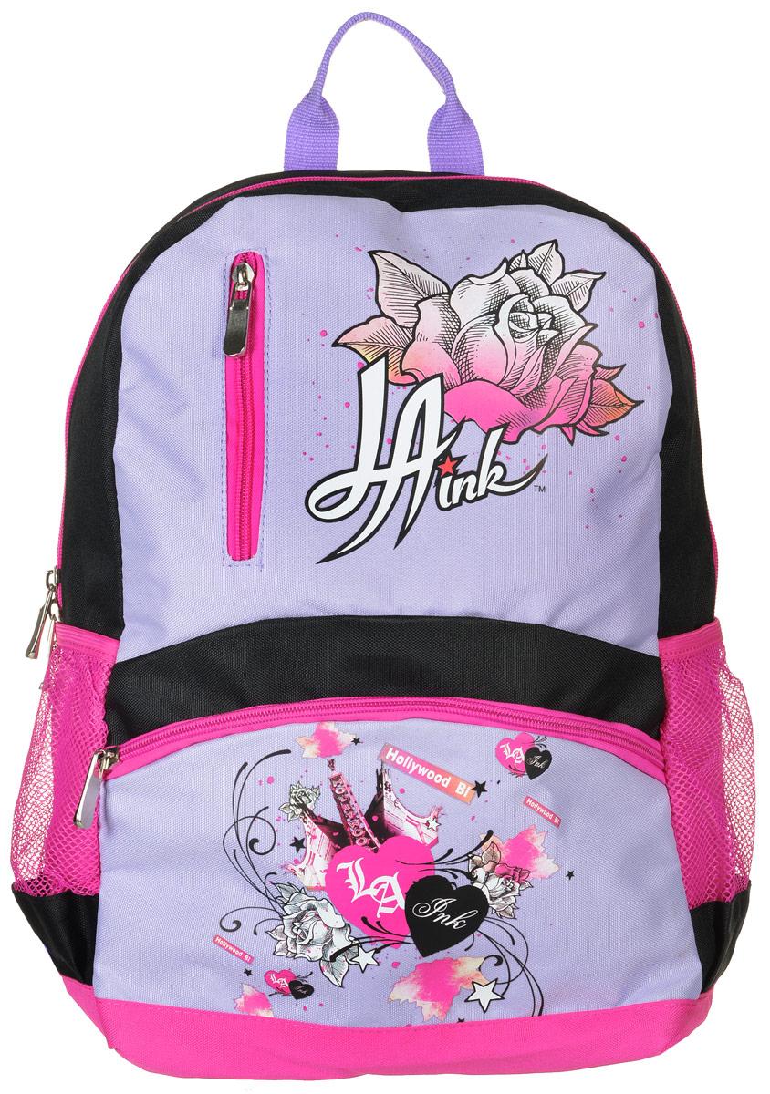Action! Рюкзак детский La Ink цвет черный розовый сиреневыйDI-AB11034/1Детский рюкзак Action! La Ink - это красивый и удобный рюкзак, который подойдет всем, кто хочет разнообразить свои будни. Рюкзак выполнен из полиэстера.Рюкзак имеет одно основное вместительное отделение, которое закрывается на застежку-молнию с двумя бегунками. Внутри отделения карманов нет. На лицевой стороне расположены два кармана на молниях. По бокам рюкзака находятся два кармана-сетки на резинках.Рюкзак оснащен удобной текстильной ручкой для переноски. Светоотражающие элементы обеспечивают безопасность в местах движения автомобилей и помогут пересечь проезжую часть в сумерки или темное время суток.Улучшенная спинка с выпуклыми рельефными вставками создана для комфортного ношения на спине. Широкие лямки можно регулировать по длине.Многофункциональный детский рюкзак станет незаменимым спутником вашего ребенка.