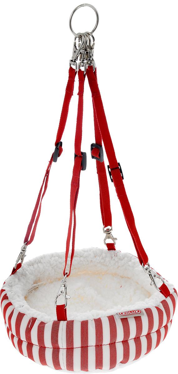 Гамак для крыс и хорьков Zolux, диаметр 20 см204171RGEГамак Zolux идеально подходит для крыс, хорьков и других мелких животных. Гамак выполнен из хлопка. Внутри изделие набито синтепоном, что делает его очень мягким. Съемная подстилка из искусственного меха позволяет легко содержать изделие в чистоте. Гамак подвешивается на крючок с помощью металлического кольца. Длину ремешков можно регулировать. В таком гамаке вашему хорьку или крысе будет комфортно и уютно, животное всегда найдет там укрытие и сможет спрятаться. Максимальная длина ремней: 34 см. Минимальная длина ремней: 20 см.