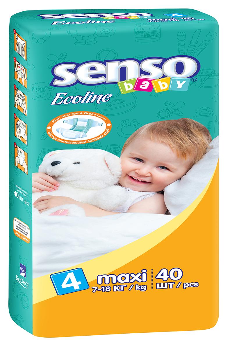 Senso Baby Ecoline Подгузники Maxi 7-18 кг 40 шт onex 3d pic ecoline explore