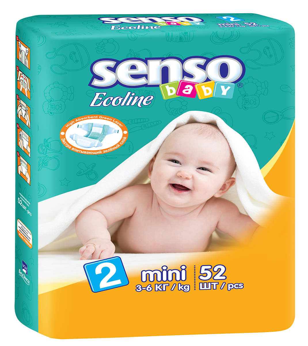 Senso Baby Ecoline Подгузники Mini 3-6 кг 52 шт onex 3d pic ecoline explore