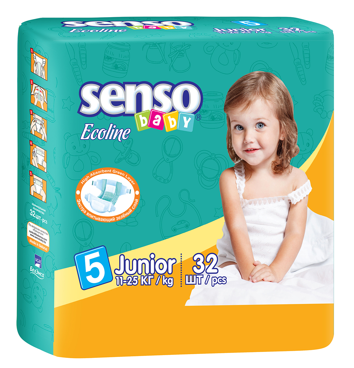 Senso Baby Ecoline Подгузники Junior 11-25 кг 32 шт onex 3d pic ecoline explore