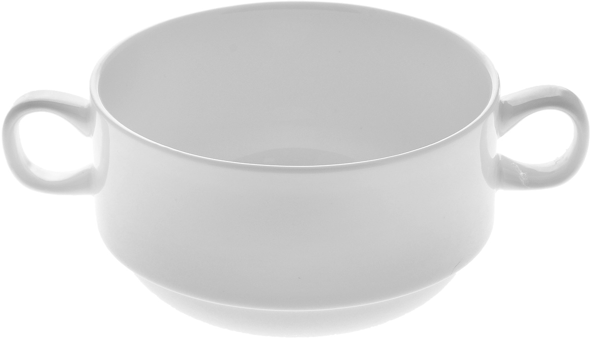 """Бульонница """"Wilmax"""" изготовлена из высококачественного фарфора. Она имеет  широкую горловину и оснащена двумя ручками для удобной переноски.  Бульонница подойдет не  только  для супа, но и для чая или кофе.  Такая стильная бульонница украсит сервировку вашего стола и подчеркнет  прекрасный вкус  хозяина, а также станет отличным подарком. Диаметр (по верхнему краю): 10 см. Высота: 6,5 см. Ширина (с учетом ручек): 14 см."""