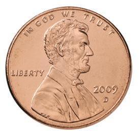 Монета номиналом 1 цент