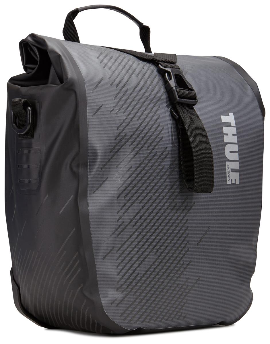 Набор велосипедных сумок Thule Pack`n Pedal Shield Pannier, цвет: темно-серый, 2 шт, 14 л. Размер S чехол дождевик для большой сумки thule large pannier rain cover 100041