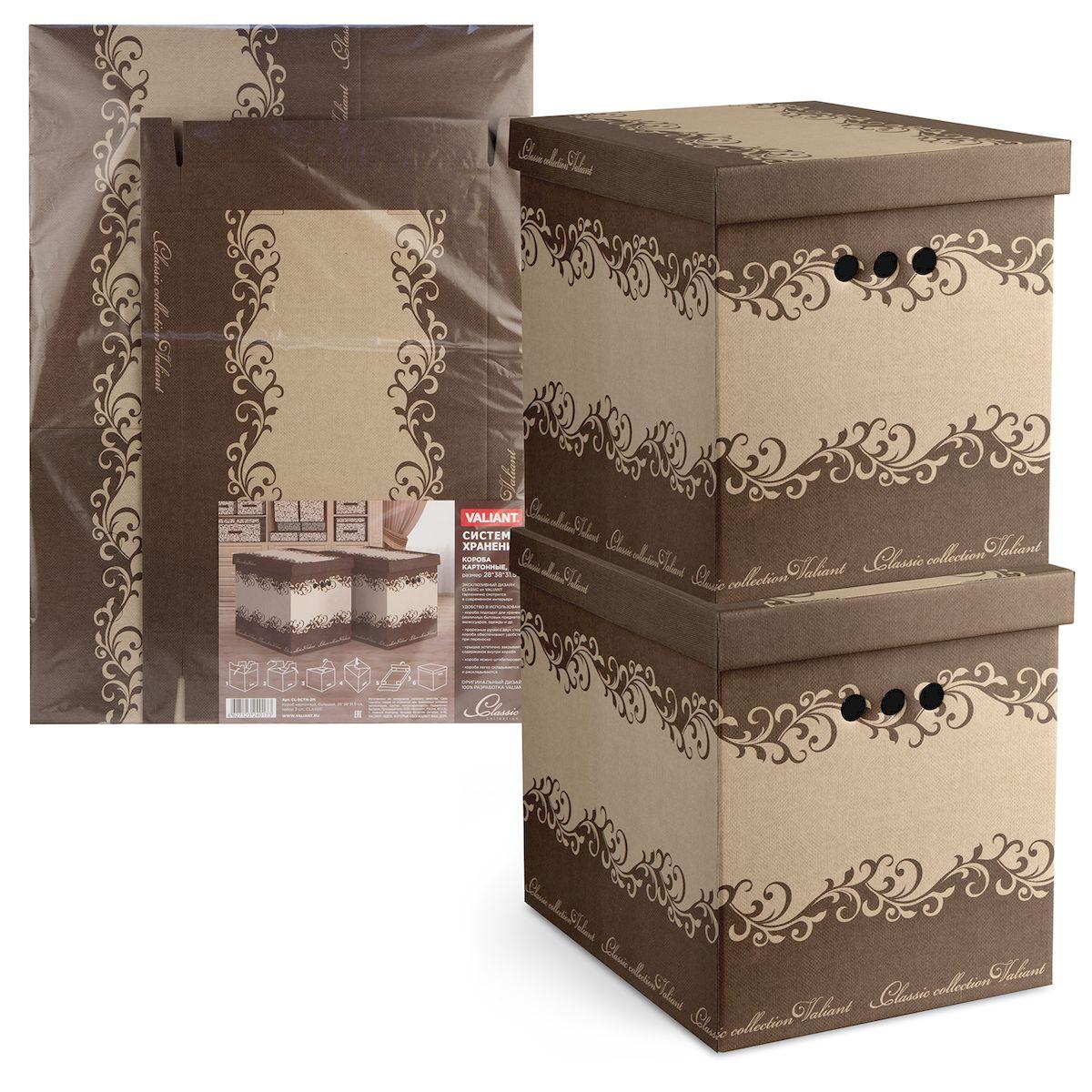 Короб для хранения Valiant Classic, складной, 28 х 38 х 31,5 см, 2 штCL-BCTN-2MКороб для хранения Valiant Classic изготовлен из картона. Изделие легко и быстро складывается. Оснащен крышкой и тремя отверстиями, которые позволяют удобно его выдвигать. Такой короб прекрасно подойдет для хранения бытовых мелочей, аксессуаров для рукоделия и других мелких предметов. С ним все мелкие вещи будут храниться аккуратно и не потеряются. Размер изделия (в собранном виде): 28 х 38 х 31,5 см.