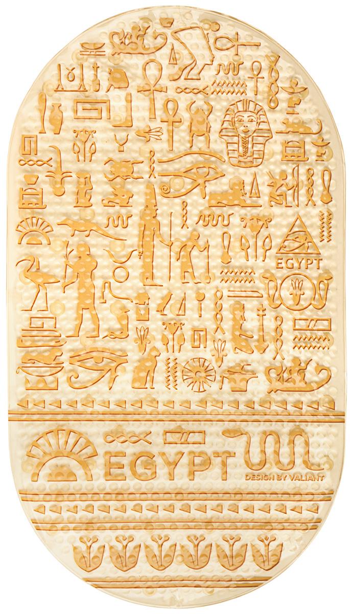 Коврик для ванной Valiant Egypt Symbols, противоскользящий, на присосках, цвет: бежевый, 69 х 39 см babyono коврик противоскользящий для ванной цвет голубой 70 х 35 см