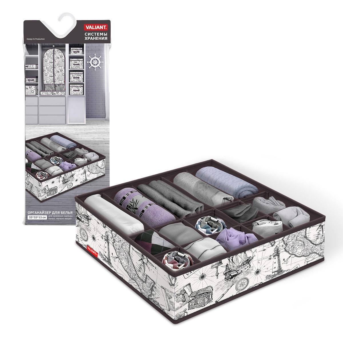 Органайзер для белья Valiant Expedition, 15 секций, 32 х 32 х 12 смEX-S15Органайзер Valiant Expedition поможет упорядочить размещение белья. Изделие выполнено из высококачественного нетканого материала, который обеспечивает естественную вентиляцию, позволяя воздуху проникать внутрь, но не пропускает пыль. Вставки из плотного картона хорошо держат форму. Изделие содержит 15 секций, предназначенных для хранения трусов, носков и другого мелкого белья. Органайзер легко раскладывается и складывается.Система хранения Valiant Expedition создаст трогательную атмосферу романтического настроения. Оригинальный дизайн придется по вкусу ценительницам эстетичного хранения.