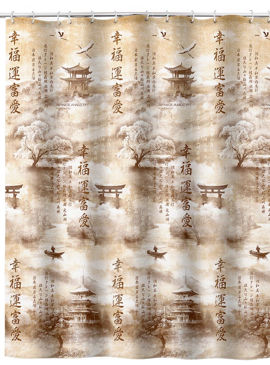 """Штора  для ванной комнаты Valiant """"Japanese Manuscript"""", изготовленная из полиэстера, приятна на ощупь, устойчива к разрывам и проколам, не пропускает воду.   Она надежно защитит от брызг и капель пространство вашей ванной комнаты в то время, пока вы принимаете душ, а привлекательный дизайн шторы  наполнит вашу ванную комнату положительной энергией."""