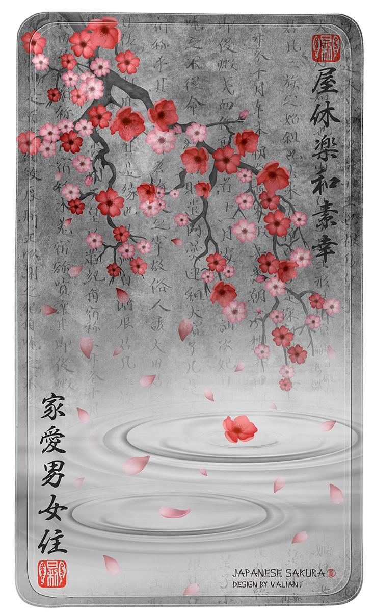 Коврик для ванной Valiant Japanese Sakura, противоскользящий, на присосках, цвет: серый, розовый, 69 х 40 см babyono коврик противоскользящий для ванной цвет голубой 70 х 35 см