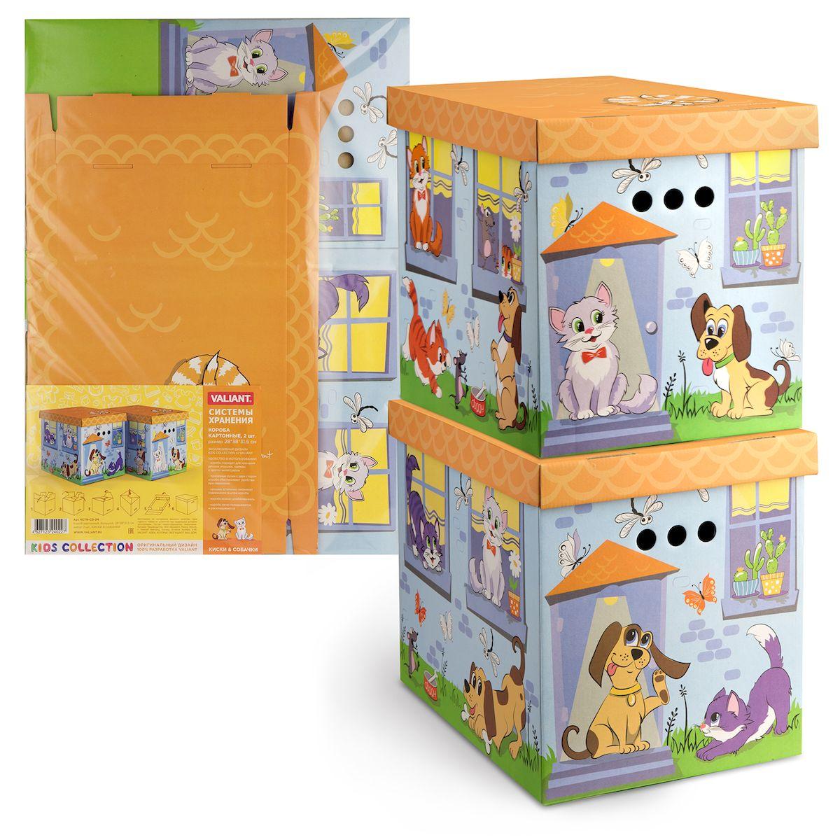 Короб для хранения Valiant Киски&Собачки, складной, 28 х 38 х 31,5 см, 2 штKCTN-CD-2MКороб для хранения Valiant Киски&Собачки изготовлен из картона. Изделие легко и быстро складывается. Оснащен крышкой и тремя отверстиями, которые позволяют удобно его выдвигать. Такой короб прекрасно подойдет для хранения бытовых мелочей, аксессуаров для рукоделия и других мелких предметов. С ним все мелкие вещи будут храниться аккуратно и не потеряются. Размер изделия (в собранном виде): 28 х 38 х 31,5 см.
