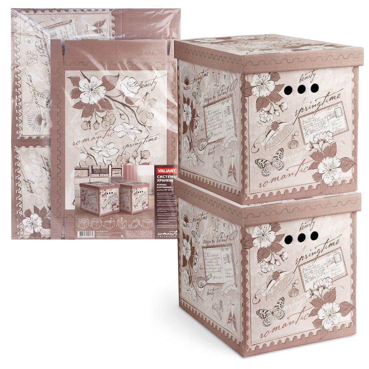 Короб для хранения Valiant Romantic, складной, 28 х 38 х 31,5 см, 2 штRM-BCTN-2MКороб для хранения Valiant Romantic изготовлен из картона. Изделие легко и быстро складывается. Оснащен крышкой и тремя отверстиями, которые позволяют удобно его выдвигать. Такой короб прекрасно подойдет для хранения бытовых мелочей, аксессуаров для рукоделия и других мелких предметов. С ним все мелкие вещи будут храниться аккуратно и не потеряются. Размер изделия (в собранном виде): 28 х 38 х 31,5 см.
