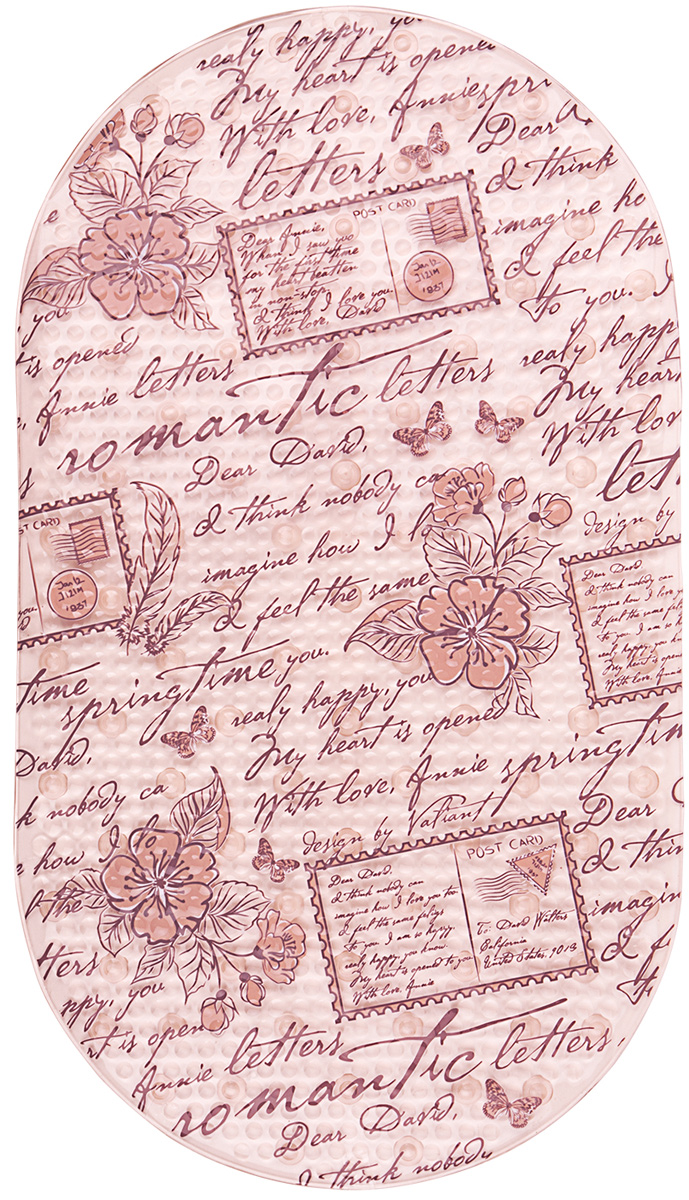 Коврик для ванной Valiant Romantic Letters, противоскользящий, на присосках, цвет: бежевый, персиковый, 69 х 39 см