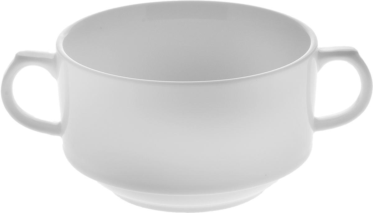 Бульонница Wilmax, 350 млWL-991230 / AБульонница Wilmax изготовлена из высококачественного фарфора. Она имеет широкую горловину и оснащена двумя ручками для удобной переноски. Бульонница подойдет не только для супа, но и для чая или кофе. Такая стильная бульонница украсит сервировку вашего стола и подчеркнет прекрасный вкус хозяина, а также станет отличным подарком.Диаметр (по верхнему краю): 10,2 см.Высота: 6,5 см.Ширина (с учетом ручек): 15,5 см.
