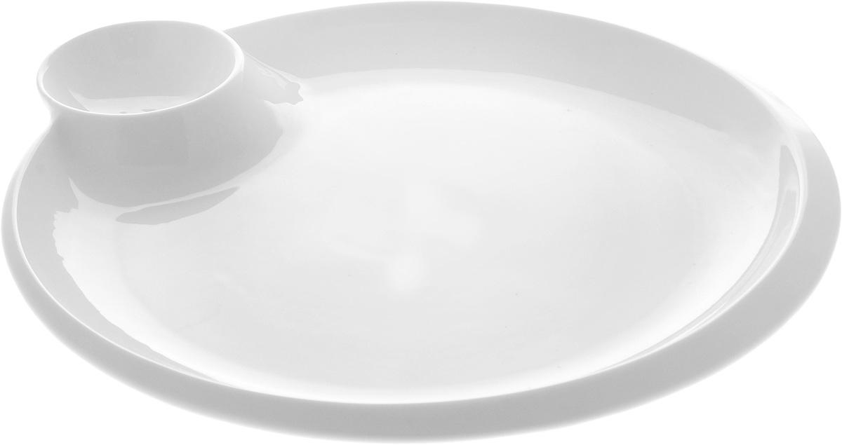 Блюдо круглое Wilmax, с соусником, диаметр 30 см
