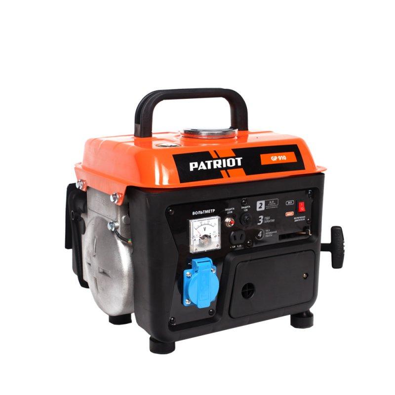 Генератор бензиновый Patriot GP 910474101519Переносной компактный генератор предназначен для питания маломощных электроприборов на загородном участке, в походе, на рыбалке. 2-х тактный двигатель прост и удобен в обращении при транспортировке. Синхронный электрогенератор обеспечивает длительную надежную работу. Выход 12 вольт позволяет подзарядить автомобильный аккумулятор в экстренном случае.