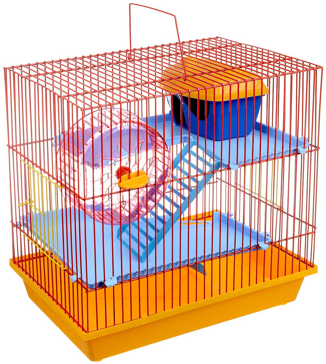 Клетка для грызунов  ЗооМарк , 3-этажная, цвет: желтый поддон, красная решетка, голубой этаж, 36 х 22,5 х 34 см. 135 - Клетки, вольеры, будки