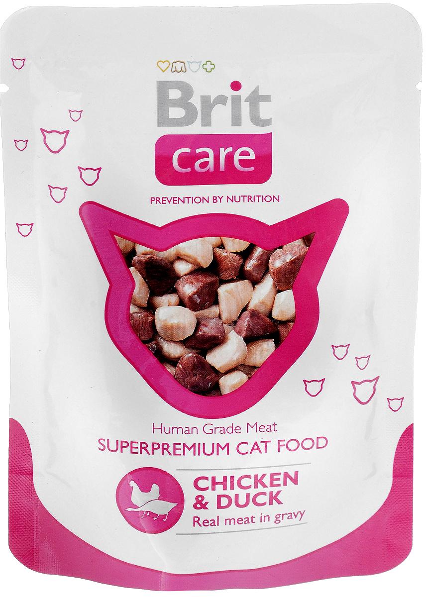 Консервы для кошек Brit Care, с курицей и уткой, 80 г сухой корм brit care cat monty indoor для кошек живущих в квартире 7кг
