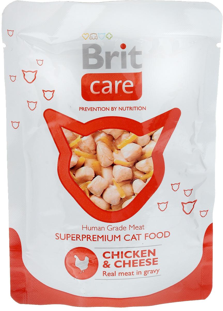 Консервы для кошек Brit Care, с курицей и сыром, 80 г сухой корм brit care cat monty indoor для кошек живущих в квартире 7кг