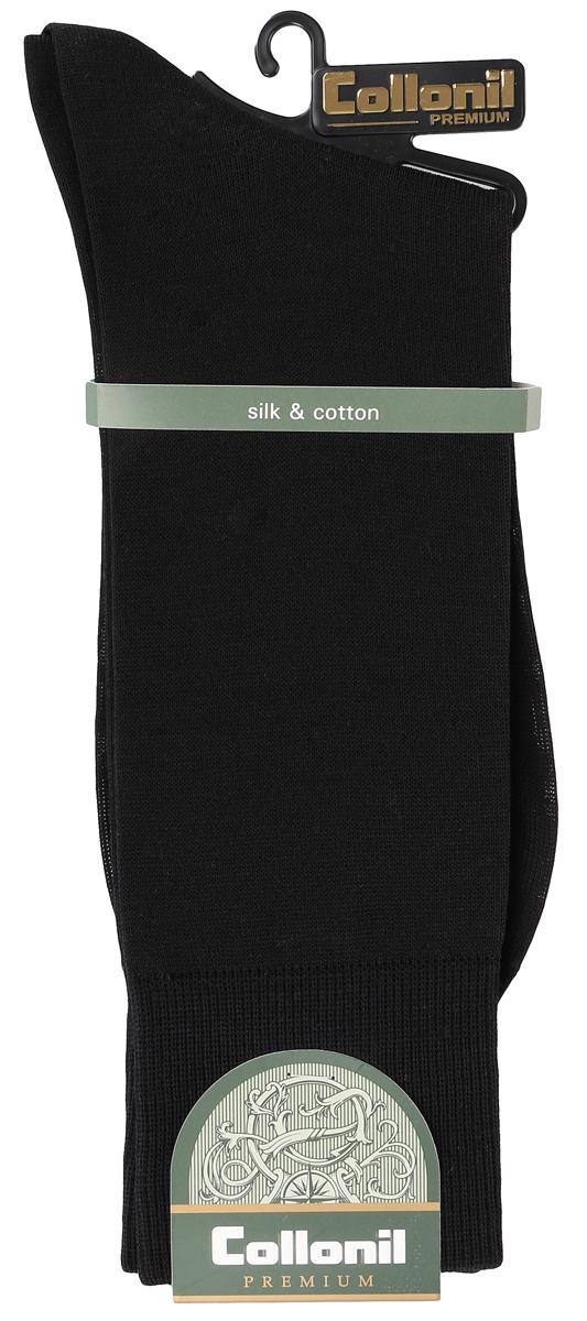 Носки мужские Collonil, цвет: черный. 150/01. Размер 39/41150/01Мужские носки Collonil изготовлены из высококачественного шелка с добавлением хлопка. Материал изделия обеспечивает великолепную посадку на ноге. Шелк обладает исключительными свойствами терморегуляции, он охлаждает когда жарко и держит тепло, когда температура начинает падать. Удлиненная широкая резинка идеально облегает ногу. Носки отличаются элегантным внешним видом. Носки станут отличным дополнением к вашему гардеробу!