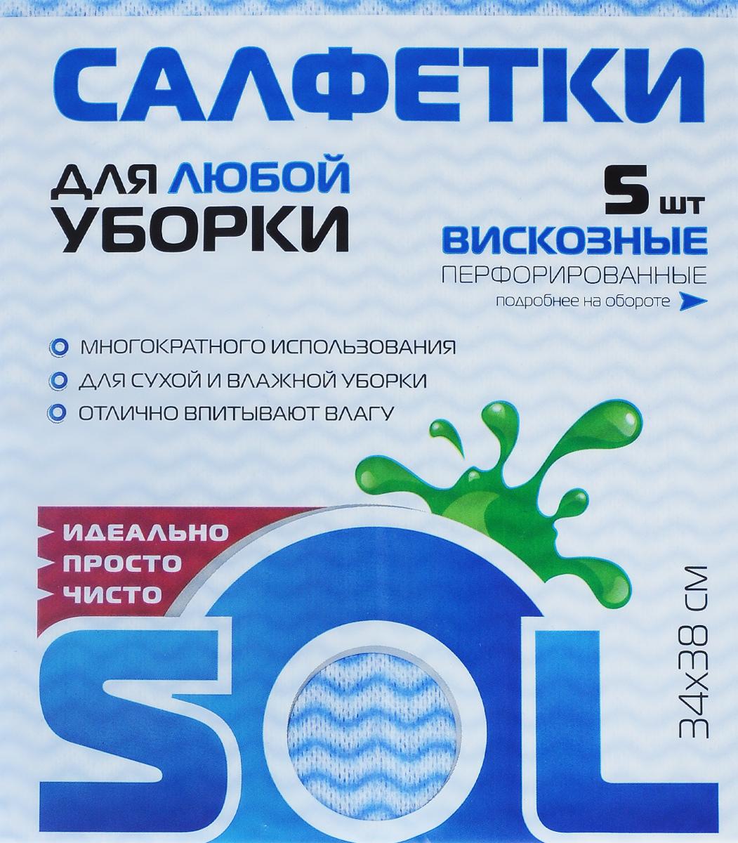 Салфетка для уборки Sol, из вискозы, перфорированная, цвет: голубой, розовый, 34 x 38 см, 5 шт10005/10053_голубой, розовыйПерфорированные салфетки Sol, выполненные из вискозы, предназначены для уборки и могут применяться с различными моющими средствами. Благодаря перфорации салфетка быстро высыхает, что позволяет избежать возникновения неприятных запахов. Отлично подходит для полировки различных поверхностей, не оставляет разводов и ворсинок. Рекомендации по уходу: Для обеспечения гигиеничности уборки после применения прополоскать в теплой воде.Для продления срока службы не применять машинную стирку, не гладить и не кипятить.