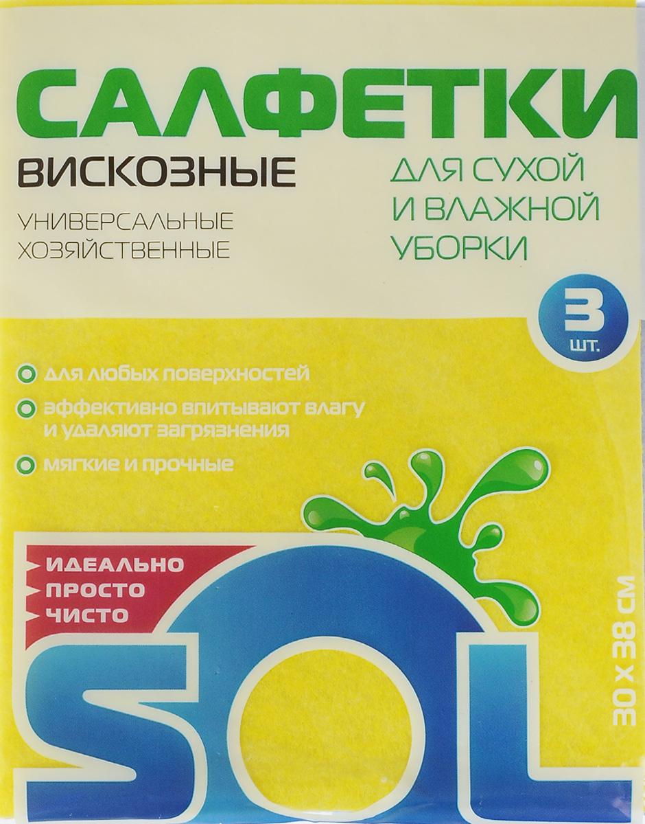 Салфетка для уборки Sol из вискозы, универсальная, цвет: желтый, сиреневый, 30 x 38 см, 3 шт10002/10054_желтый, голубойСалфетки для уборки Sol, выполненные из вискозы и полиэстера, предназначены для уборки и могут применяться сразличными моющимисредствами. Эффективно впитывают жидкость. Мягкие и прочные, легкоотжимаются и быстро сохнут.Рекомендации по уходу: Для обеспечения гигиеничности уборки после применения прополоскать в теплойводе.Для продления срока службы не применять машинную стирку, не гладить и некипятить.