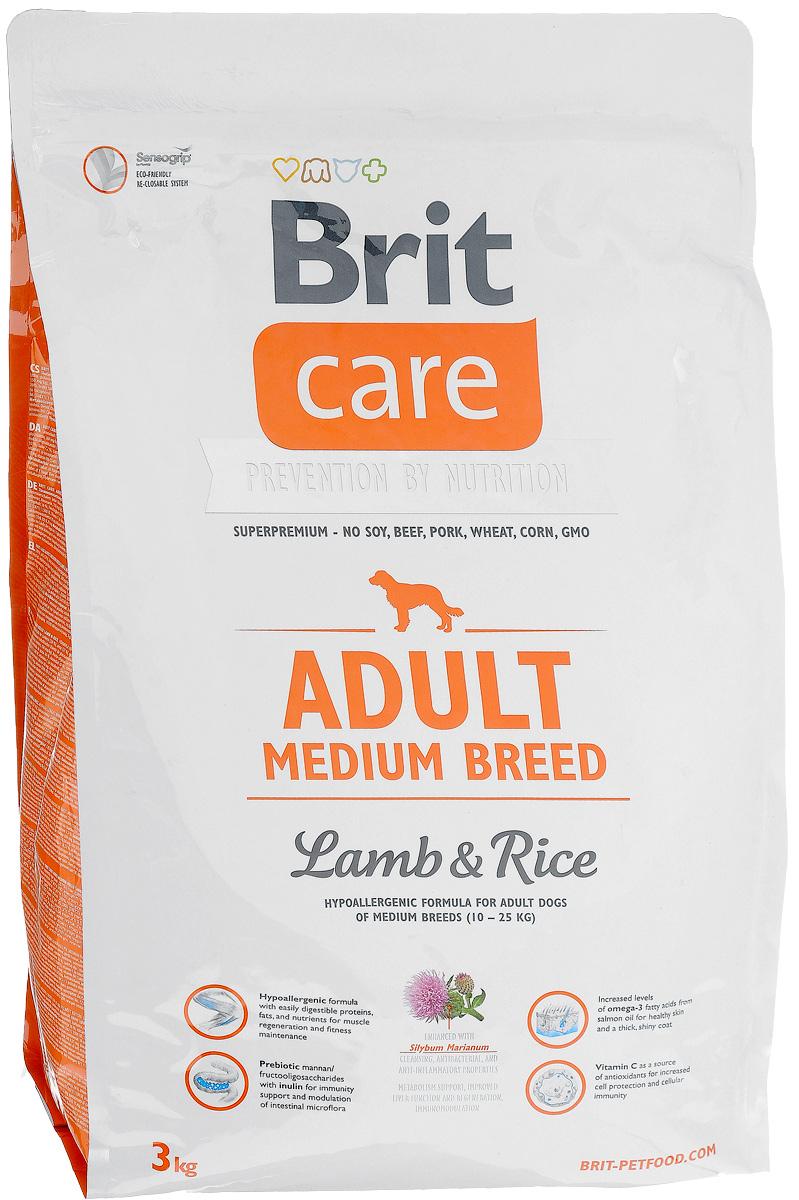 Корм сухой Brit Care Adult Medium Breed для взрослых собак средних пород, с ягненком и рисом, 3 кг pedigree pedigree сухой корм с говядиной для взрослых собак миниатюрных пород 1 2 кг