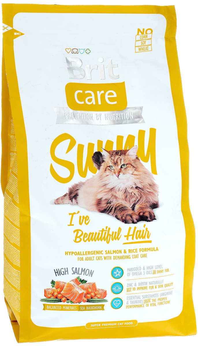 Корм сухой Brit Care Sunny для кошек, для ухода за кожей и шерстью, 2 кг8595602505616Гипоаллергенный корм Brit Care Sunny с мясом лосося и рисом предназначен для взрослых кошек длинношерстных пород или с шерстью, требующей особого ухода. Корм с высокой усвояемостью, с добавлением масла лосося, органического цинка и со сбалансированным содержанием ненасыщенных жирных кислот Омега-3 и Омега-6 для здоровой кожи и красивой, мягкой шерсти.Преимущества:- Высокое содержание мяса.- Сбалансированный минеральный состав.- Гипоаллергенный состав.Товар сертифицирован.