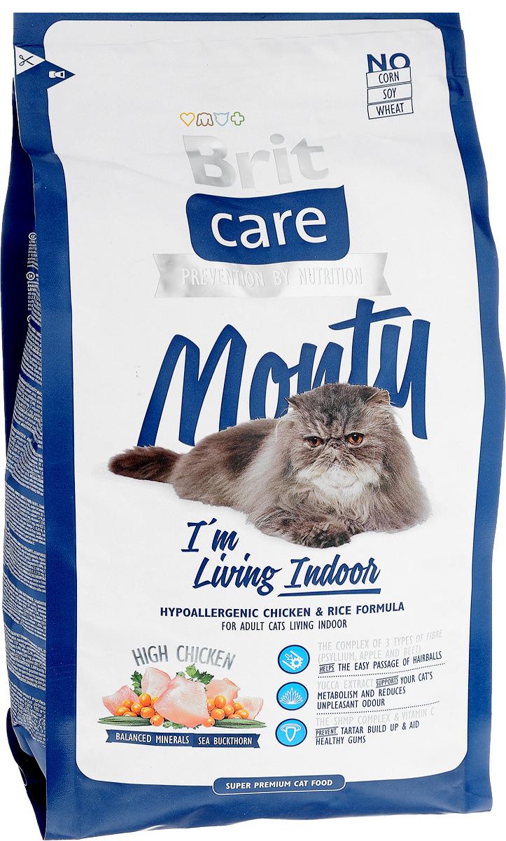 Корм сухой Brit Care Monty Indoor для взрослых кошек, живущих в помещении, с курицей и рисом, 2 кг сухой корм brit care cat monty indoor для кошек живущих в квартире 7кг