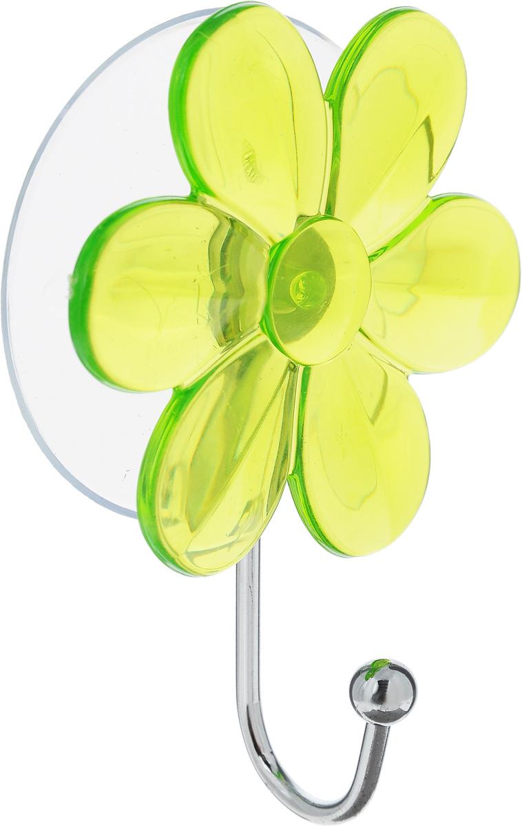 Крючок Top Star Цветок, на вакуумной присоске, цвет: зеленый, стальной, 6 х 3 х 10 см175332_цветок, салатовыйКрючок Top Star Цветок изготовлен из хромированной стали и украшен пластиковой вставкой в видецветка. Крючок крепится к поверхности при помощи присоски. Для надежности крепленияприсоску необходимо устанавливать на гладкой, воздухонепроницаемой, очищенной иобезжиренной поверхности. Такой крючок прекрасно впишется в интерьер ванной комнаты и поможет эффективноорганизовать пространство.
