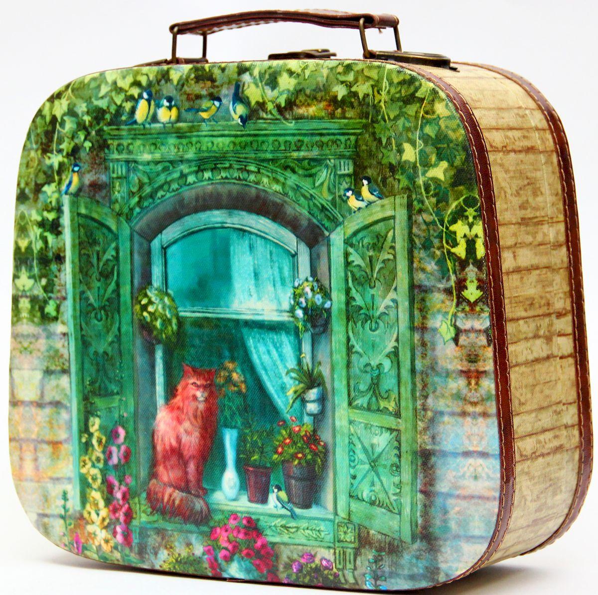 Шкатулка декоративная Magic Home Котик на окне, цвет: зеленый, 28,5 х 25 х 10,5 см шкатулка декоративная dg home 29х21 5х10 см dg d 786b