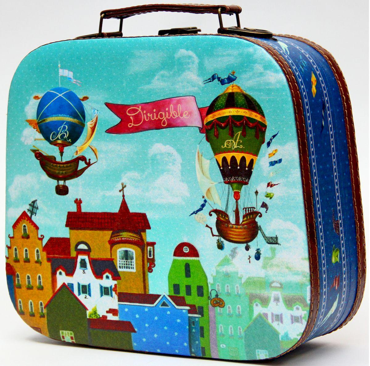 Шкатулка декоративная Magic Home Дирижабли в лето, цвет: голубой, 28,5 х 25 х 10,5 шкатулки magic home шкатулка дождь в париже