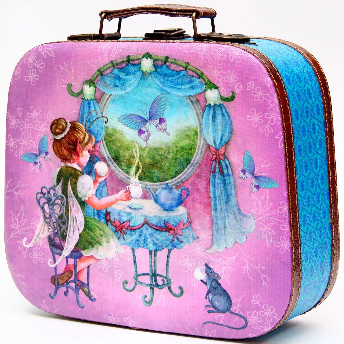 Шкатулка декоративная Magic Home Волшебное чаепитие, цвет: синий, сиреневый, 25 х 20,5 х 9 см шкатулки magic home шкатулка дождь в париже