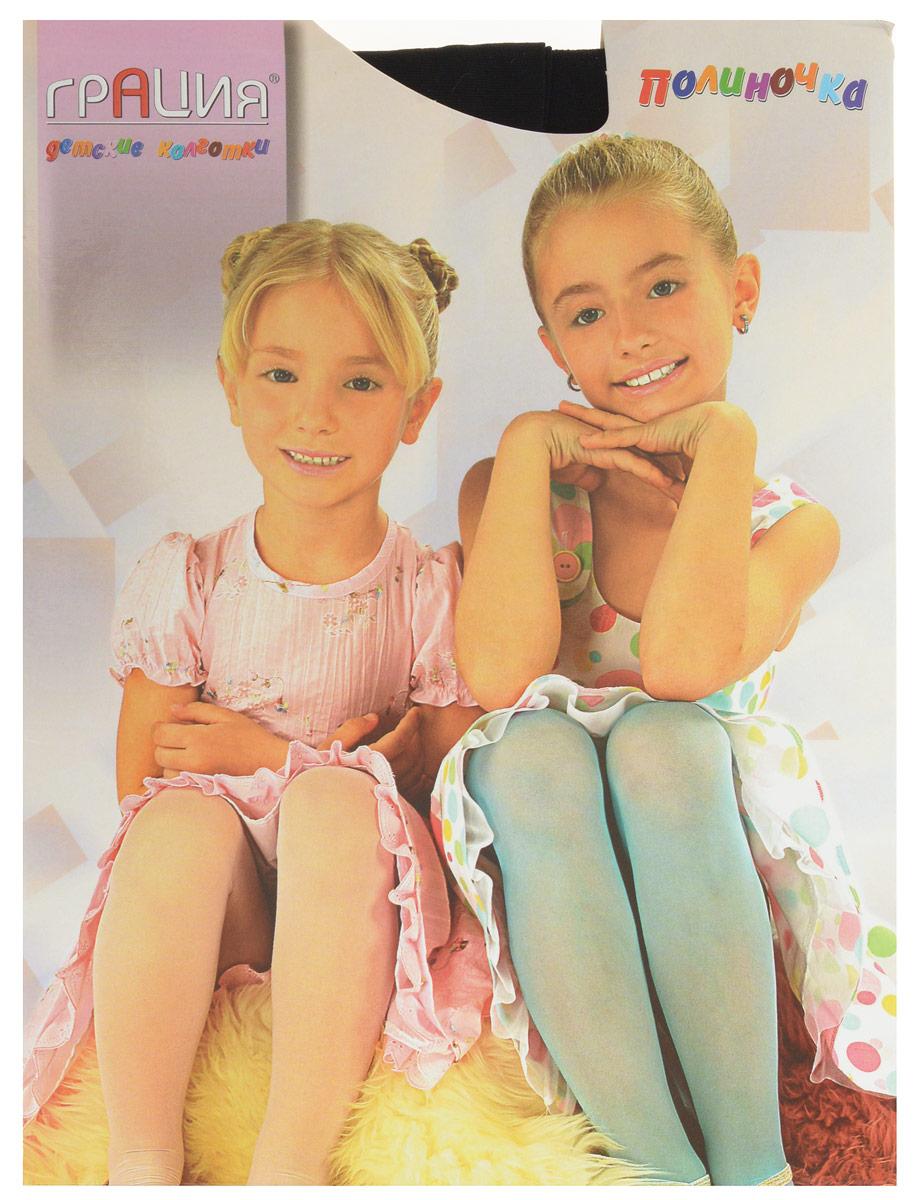 Колготки для девочки Грация Полиночка, цвет: черный. Размер 116/122, 5-6 летПолиночкаКлассические детские колготки Грация Полиночка изготовлены специально для девочек.Однотонные колготки имеют широкую резинку, укрепленный верх и комфортные плоские швы. Элегантные и комфортные, эти колготки равномерно облегают ножки, не сдавливая и не доставляя дискомфорта. Эластичные швы и мягкая резинка на поясе не позволят колготам сползать и не будут стеснять движений. Входящие в состав ткани полиамид и лайкра предотвращают растяжение и деформацию после стирки. Классические колготки - это идеальное решение на каждый день для прогулки, школы, яслей или садика. Такие колготки станут великолепным дополнением к гардеробу вашей красавицы.