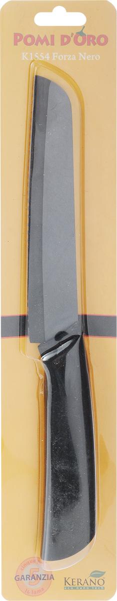 Нож для хлеба Pomi d'Oro Forza, керамический, длина лезвия 15 см77.858@19737 / K1554 Forza NeroНож для хлеба Pomi dOro Forza изготовлен из черной керамики Kerano. Kerano - это уникальный керамический нано-материал, который не содержит вредные примеси, в том числе перфоктановую кислоту (PTFE) и примеси, используемые для легированной стали. Материал изделия не вступает в реакцию с пищей во время готовки. Изделие имеет эргономичную обрезиненную ручку, которая не скользит в руках и делает резку удобной и безопасной. Можно мыть в посудомоечной машине. Длина ножа: 27,5 см.