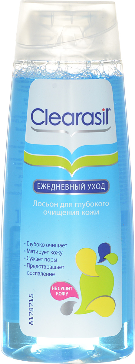 Лосьон для глубокого очищения Clearasil Stayclear, 200 мл7533300Лосьон для глубокого очищения Clearasil Stayclear проникает глубоко в поры, удаляет загрязнения, жирный блеск, убивает бактерии. PH-нейтральный.Оказывает антисептическое и антибактериальное действие.Сужает и очищает поры, смягчает кожу.Активный компонент:Содержит аллантоин, который ускоряет обновление клеток и обладает противовоспалительными свойствами. Кроме того, это мощный увлажнитель, который способствует удержанию влаги в коже. Характеристики: Объем: 200 мл. Производитель: Франция.Товар сертифицирован.