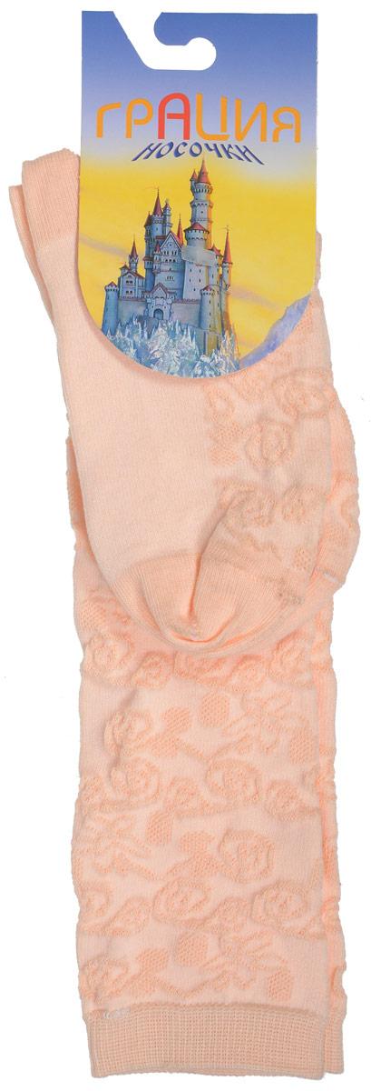 Гольфы для девочки Грация, цвет: абрикосовый. Д 2203. Размер 19/21