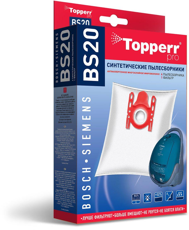 Topperr BS20 фильтр для пылесосовBosch, Siemens, 4 шт1401Синтетические пылесборники Topperr BS20 подходят для пылесосов BOSCH и SIEMENS произведены из нетканого фильтрующего материала. Данный материал не боится повышенной влажности и обладает большой прочностью, главное качество – способность задерживать 99,5% пыли. Регулярное использование синтетических мешков-пылесборников гарантирует не только очищение воздуха от пыли и аллергенных микроорганизмов, но и чистоту внутренних поверхностей пылесоса.
