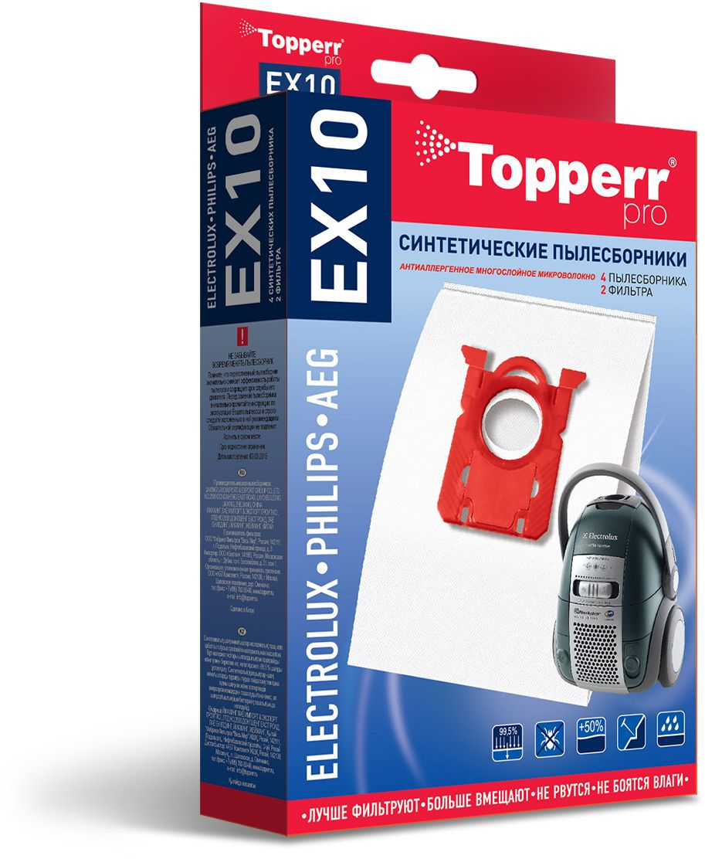 Topperr EX10 фильтр для пылесосов Electrolux, Philips, AEG, 4 шт1404Синтетические пылесборники Topperr EX10 подходят для пылесосов AEG, BORK, ELECTROLUX, PHILIPS, ZANUSSI произведены из нетканого фильтрующего материала. Данный материал не боится повышенной влажности и обладает большой прочностью, главное качество – способность задерживать 99,5% пыли. Регулярное использование синтетических мешков-пылесборников гарантирует не только очищение воздуха от пыли и аллергенных микроорганизмов, но и чистоту внутренних поверхностей пылесоса.