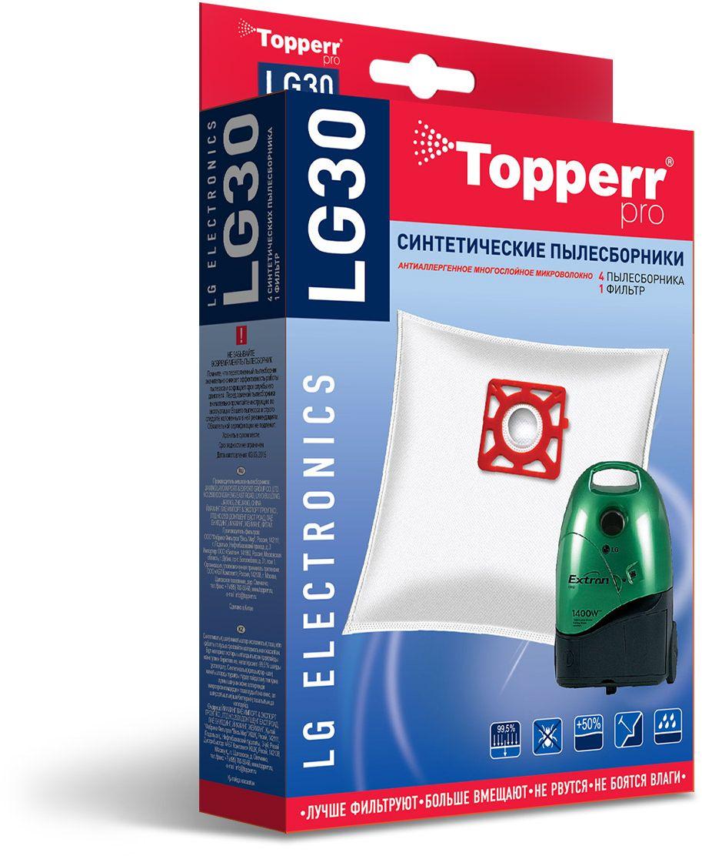 Topperr LG30 фильтр для пылесосовLG Electronics, 4 шт1408Синтетические пылесборники Topperr LG30 подходят для пылесосов LG ELECTRONICS произведены из нетканого фильтрующего материала. Данный материал не боится повышенной влажности и обладает большой прочностью, главное качество – способность задерживать 99,5% пыли. Регулярное использование синтетических мешков-пылесборников гарантирует не только очищение воздуха от пыли и аллергенных микроорганизмов, но и чистоту внутренних поверхностей пылесоса.