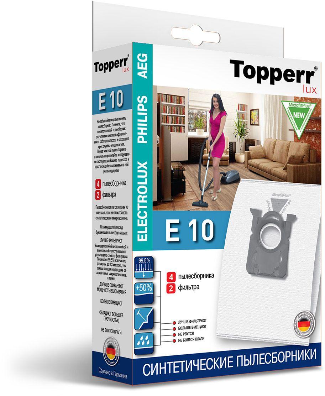 Topperr E 10 фильтр для пылесосов Electrolux, Philips, AEG, 4 шт1416Немецкие синтетические пылесборники TOPPERR LUX подходят для пылесосов AEG, BORK, ELECTROLUX, PHILIPS, ZANUSSI, произведены из экологически чистого, многослойного нетканого фильтрующего материала MicrofiltPlus.Данный материал не боится повышенной влажности и обладает большой прочностью, главное качество — способность задерживать 99,5% пыли; сохраняет мощность всасывания пылесоса до полного заполнения пылесборника, также продлевает срок службы пылесоса.Регулярное использование синтетических мешков-пылесборников гарантирует не только очищение воздуха от пыли и аллергенных микроорганизмов, но и чистоту внутренних поверхностей пылесоса.