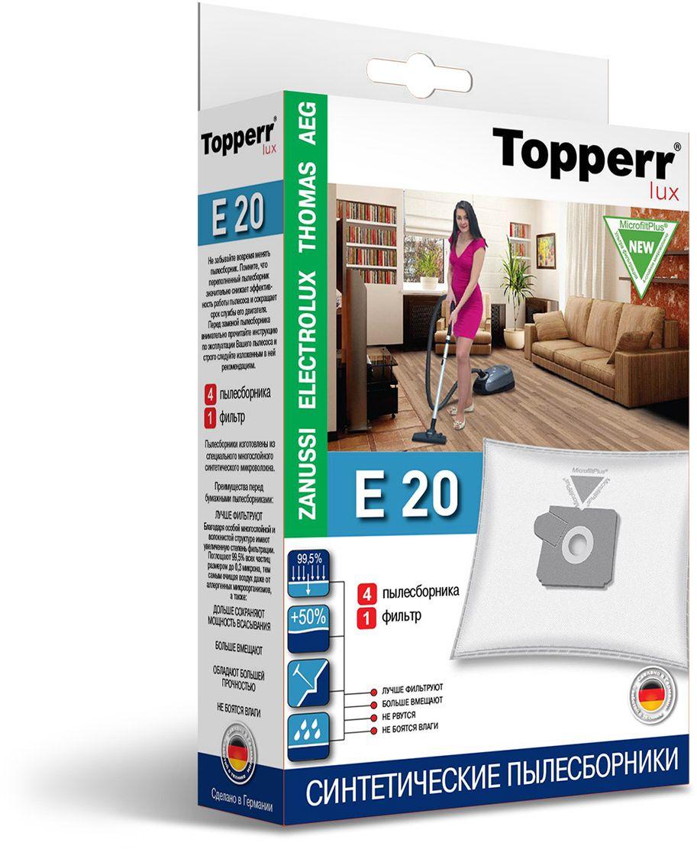 Topperr E 20 фильтр для пылесосов Zanussi, Electrolux, AEG, 4 шт1417Немецкие синтетические пылесборники Topperr E 20 подходят для пылесосов AEG, ELECTROLUX, THOMAS, ZANUSSI, произведены из экологически чистого, многослойного нетканого фильтрующего материала MicrofiltPlus. Данный материал не боится повышенной влажности и обладает большой прочностью, главное качество — способность задерживать 99,5% пыли; сохраняет мощность всасывания пылесоса до полного заполнения пылесборника, также продлевает срок службы пылесоса.Регулярное использование синтетических мешков-пылесборников гарантирует не только очищение воздуха от пыли и аллергенных микроорганизмов, но и чистоту внутренних поверхностей пылесоса.
