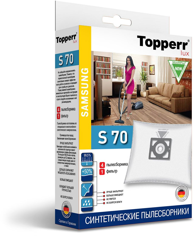 Topperr S 70 фильтр для пылесосовSamsung, 4 шт1418Немецкие синтетические пылесборники TOPPERR LUX подходят для пылесосов SAMSUNG, произведены из экологически чистого, многослойного нетканого фильтрующего материала MicrofiltPlus. Данный материал не боится повышенной влажности и обладает большой прочностью, главное качество — способность задерживать 99,5% пыли; сохраняет мощность всасывания пылесоса до полного заполнения пылесборника, также продлевает срок службы пылесоса.Регулярное использование синтетических мешков-пылесборников гарантирует не только очищение воздуха от пыли и аллергенных микроорганизмов, но и чистоту внутренних поверхностей пылесоса.