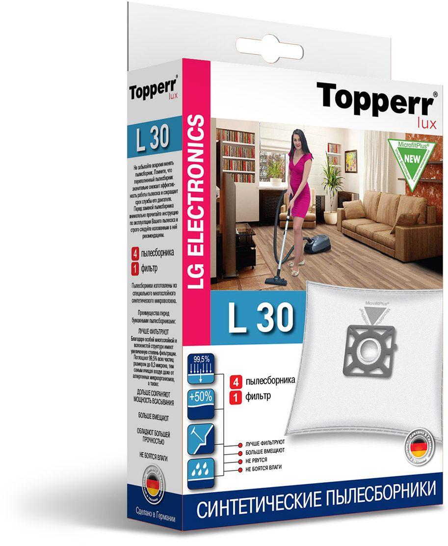 Topperr L 30 фильтр для пылесосовLG Electronics, 4 шт1420Немецкие синтетические пылесборники TOPPERR LUX подходят для пылесосов LG ELECTRONICS, произведены из экологически чистого, многослойного нетканого фильтрующего материала MicrofiltPlus. Данный материал не боится повышенной влажности и обладает большой прочностью, главное качество — способность задерживать 99,5% пыли; сохраняет мощность всасывания пылесоса до полного заполнения пылесборника, также продлевает срок службы пылесоса.Регулярное использование синтетических мешков-пылесборников гарантирует не только очищение воздуха от пыли и аллергенных микроорганизмов, но и чистоту внутренних поверхностей пылесоса.