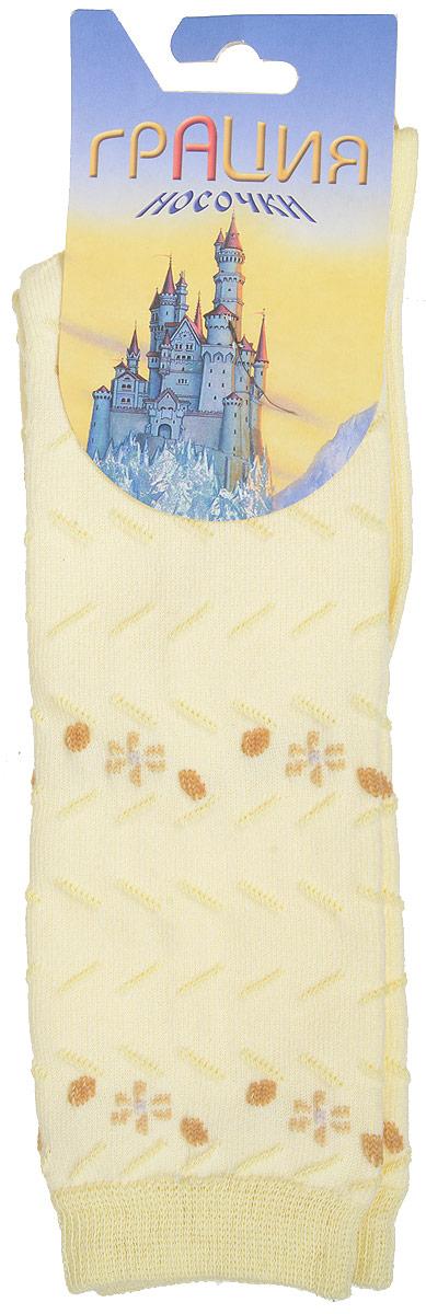 Гольфы для девочки Грация, цвет: бледно-желтый. Д 2202. Размер 16/18Д 2202Гольфы для девочки Грация выполнены из мягкого эластичного материала. Изделие приятное на ощупь, хорошо пропускает воздух.Эластичная резинка мягко облегает ножку ребенка, создавая удобство и комфорт. Усиленные пятка и мысок обеспечивают надежность и долговечность. Гольфы оформлены рельефными вязаными полосками и цветочками контрастного цвета. Гольфы станут отличным дополнением к гардеробу маленькой модницы! Уважаемые клиенты!Размер, доступный для заказа, является длиной стопы.