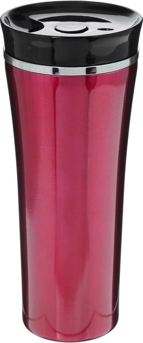 Кружка-термос Mayer & Boch, цвет: винный, черный, 450 мл. 25407