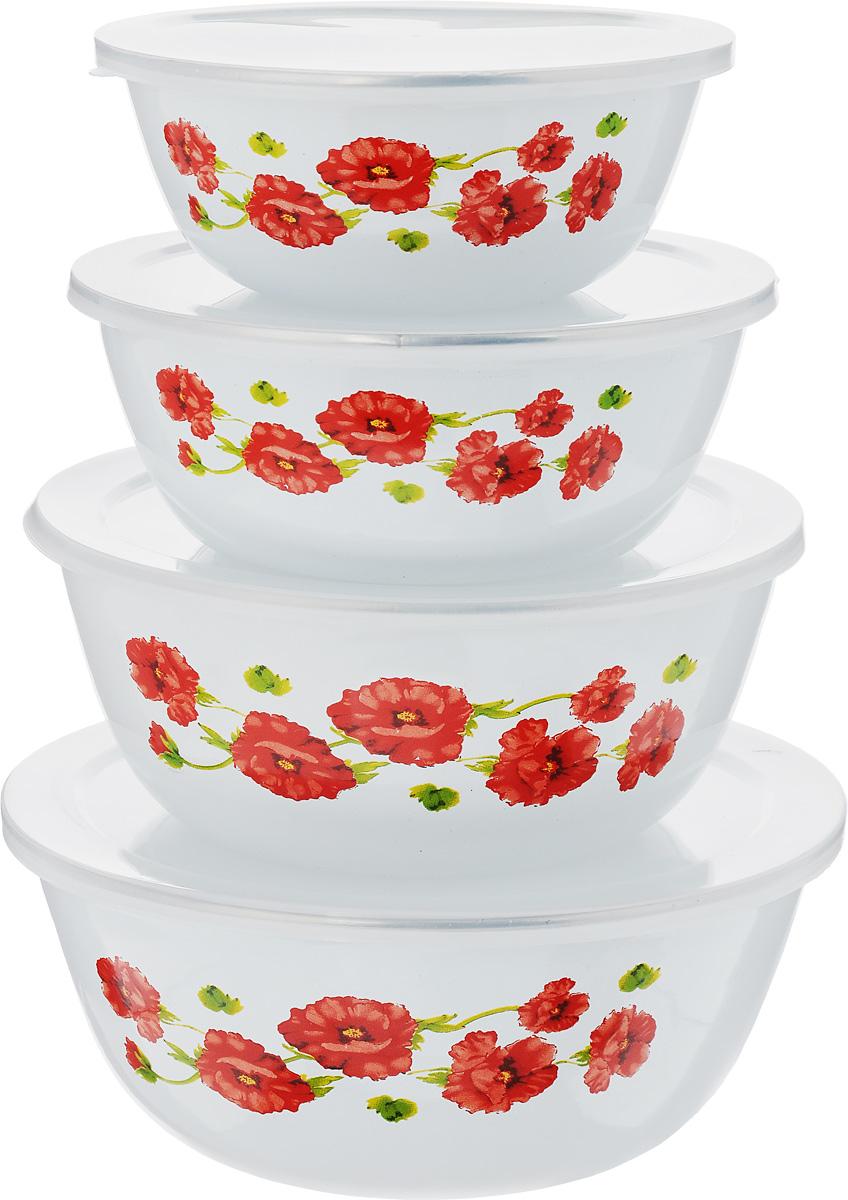 """Набор Mayer & Boch """"Маки"""" состоит из четырех мисок разного размера, выполненных из металла с эмалированным покрытием. Миски снабжены пластиковыми плотно прилегающими крышками. Они являются универсальным приобретением для любой кухни. С их помощью можно готовить блюда, хранить продукты и даже сервировать стол. Оригинальный дизайн, высокое качество и функциональность набора Mayer & Boch """"Маки"""" позволят ему стать достойным дополнением к вашему кухонному инвентарю. Можно мыть в посудомоечной машине.Диаметр мисок (по верхнему краю): 20,5 см, 18 см, 16 см, 14 см. Высота стенок мисок (без учета крышек): 8,5 см, 8 см, 6,5 см, 6 см."""