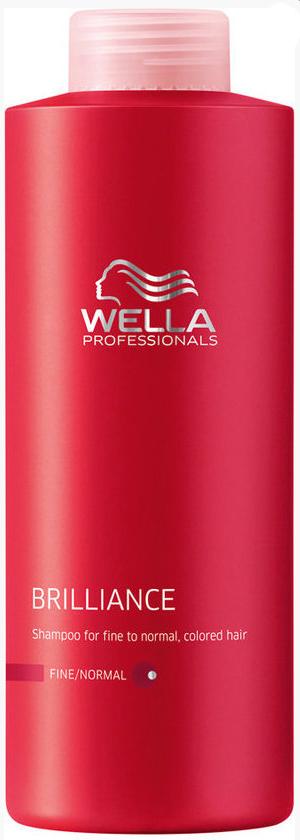 Wella Шампунь Brilliance Line для окрашенных нормальных и тонких волос, 1000 мл117832Шампунь Wella для окрашенных нормальных и тонких волос отлично тонизирует волосы и очищает их. Он имеет легкую формулу и насыщенную текстуру, благодаря чему равномерно распределяется по волосам, придавая сияющий блеск и яркость. Шампунь прекрасно защищает волосы от негативного воздействия окружающей среды, обеспечивает после окрашивания оптимальный уровень рН, смягчает и успокаивает кожу головы, поддерживает оптимальный водный баланс. Шампунь действует как антиоксидант, стимулирует рост волос, возвращает им упругость и силу, они становятся яркими и блестящими.Результат: с шампунем для окрашенных нормальных и тонких волос вы продлите блеск и сияние цвета, сделаете волосы более мягкими и послушными.В состав входят: бриллиантовая пыльца, Витамин Е, глиоксиловая кислота, экстракт орхидеи.