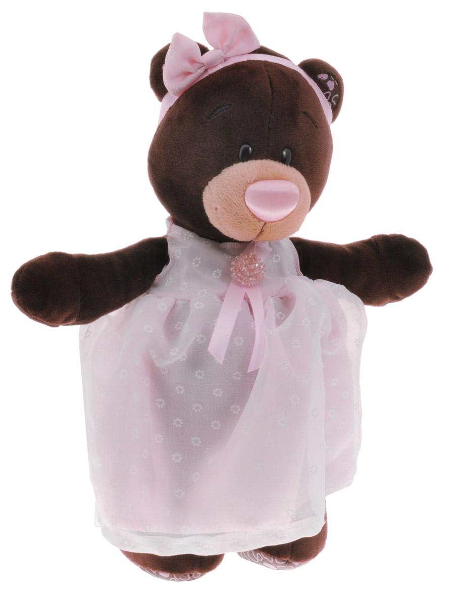 ChocoMilk Мягкая игрушка Медведица Milk в платье с брошью 30 см