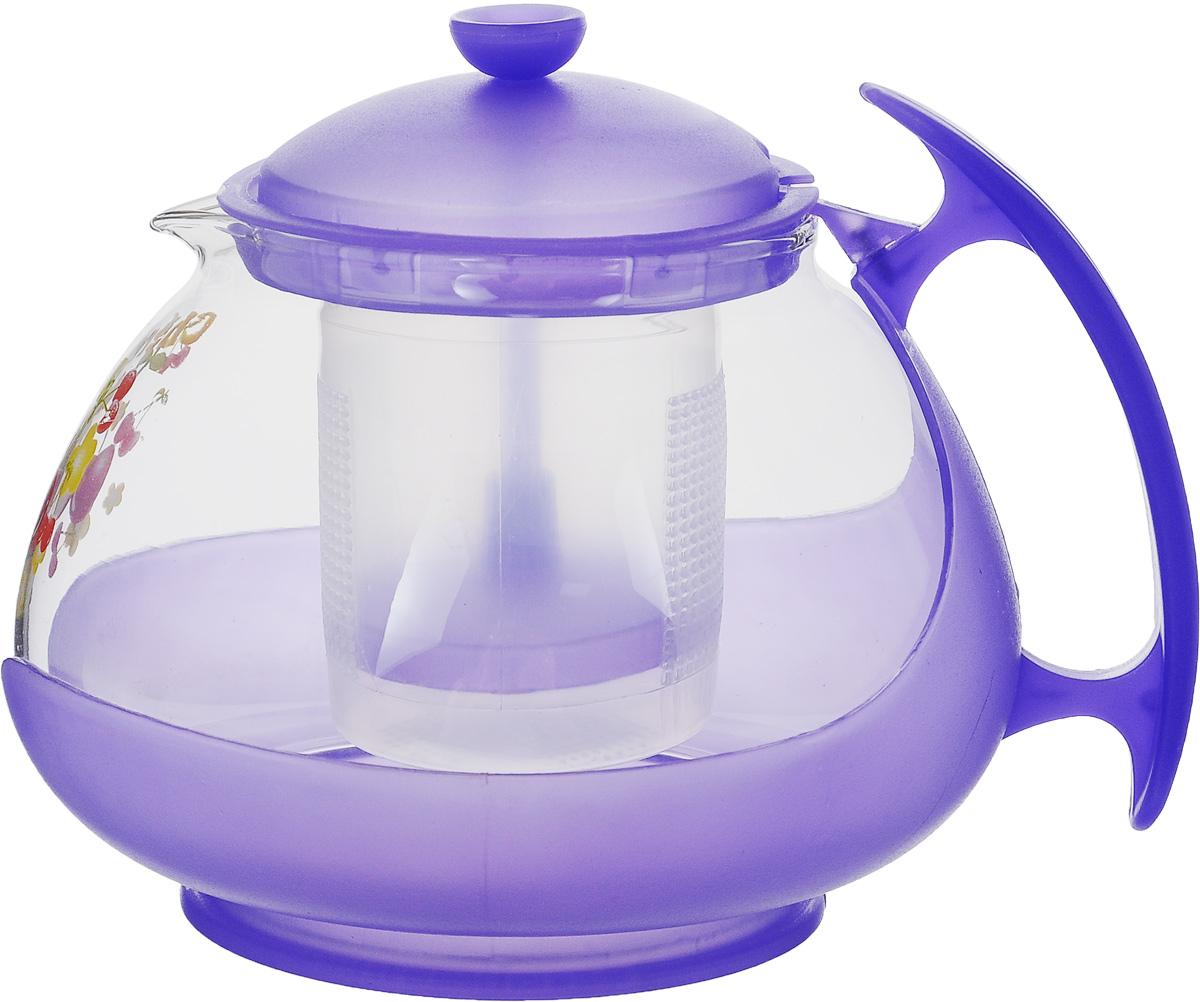 Чайник заварочный Mayer & Boch, с фильтром, цвет: прозрачный, фиолетовый, 700 мл. 20222022_прозрачный, фиолетовыйЗаварочный чайник Mayer & Boch изготовлен из жаропрочного стекла и полипропилена. Изделие оснащено сетчатым фильтром из пищевого полипропилена (пластика), который задерживает чаинки и предотвращает их попадание в чашку, а прозрачные стенки дадут возможность наблюдать за насыщением напитка.Чай в таком чайнике дольше остается горячим, а полезные и ароматические вещества полностью сохраняются в напитке. Диаметр чайника (по верхнему краю): 8 см.Высота чайника (без учета крышки): 9,5 см.Высота фильтра: 6,5 см.